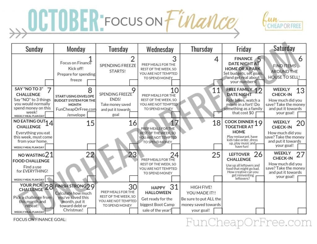 FREE month-long Focus on Finance Challenge calendar! Such a good way to kick-start the budget for Christmas! From FunCheapOrFree.com