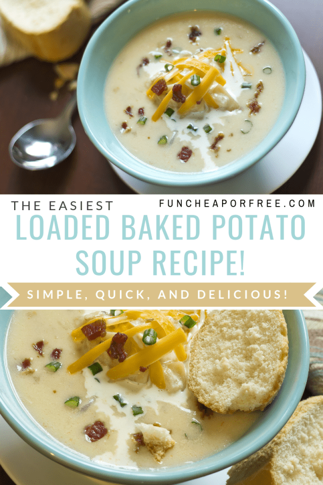 Loaded baked potato soup in a bowl, from Fun Cheap or Free