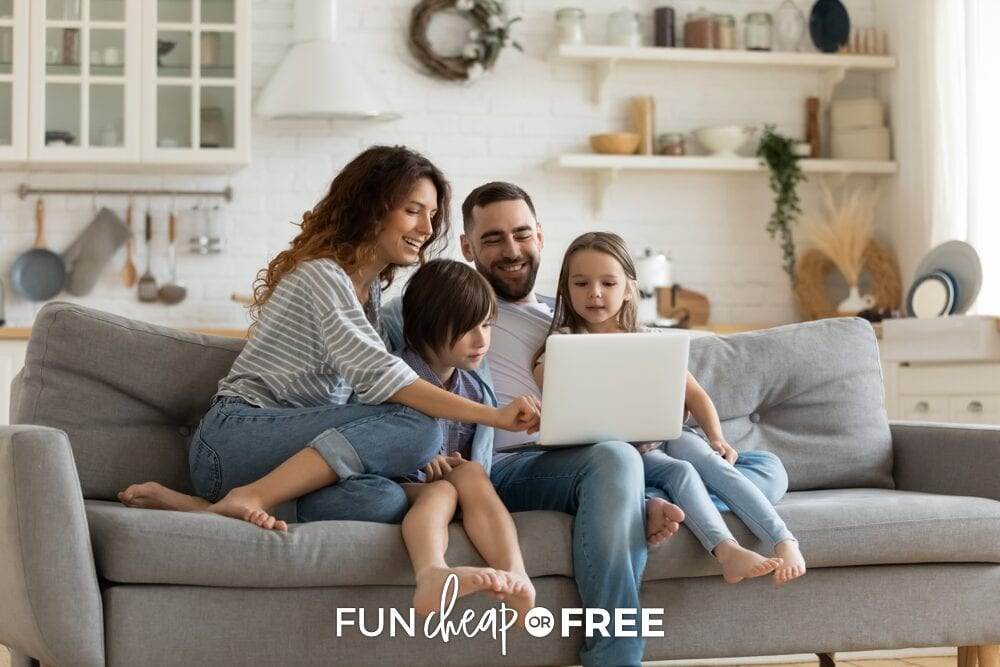 Family looking at bank accounts on the computer, from Fun Cheap or Free