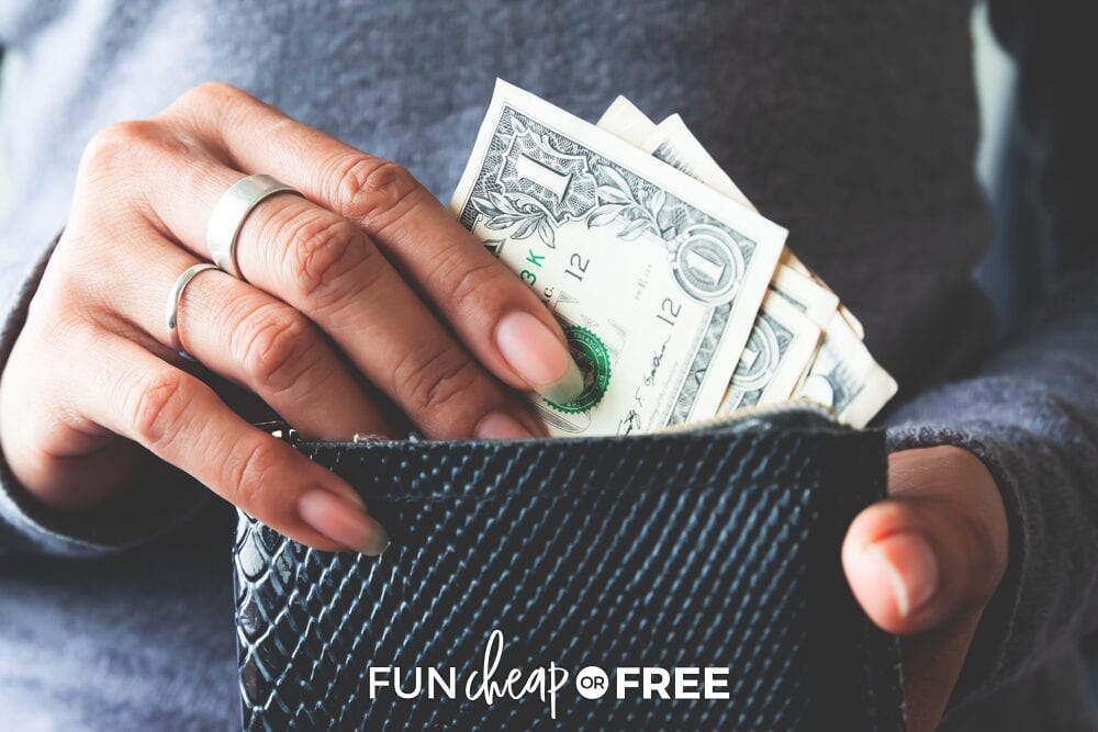 Woman getting cash out of her wallet, from Fun Cheap or Free