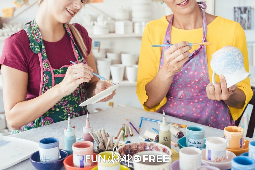 Women painting ceramics, from Fun Cheap or Free