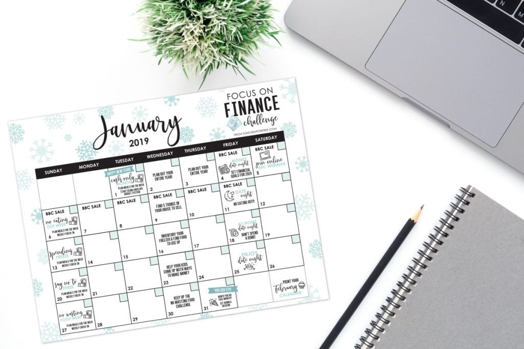 picture relating to Printable Budget Calendar referred to as January: Attention Upon Finance Thirty day period - Absolutely free printable calendar