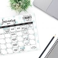 January: Focus On Finance Month – FREE printable calendar, chall..