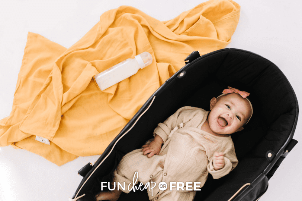 baby laughing in Moses bag, from Fun Cheap or Free