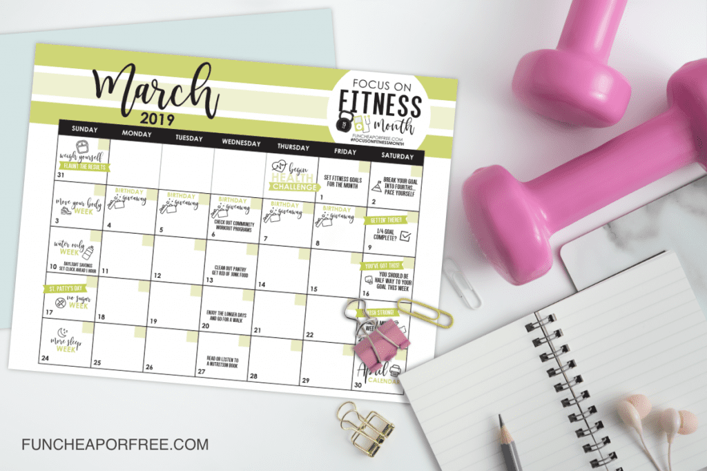 FREE 'Focused on Fitness' printable calendar for March. Weekly challenges to help you get better sleep, move your body, say NO to sugar, etc. THIS IS SO GOOD!! From FunCheapOrFree.com