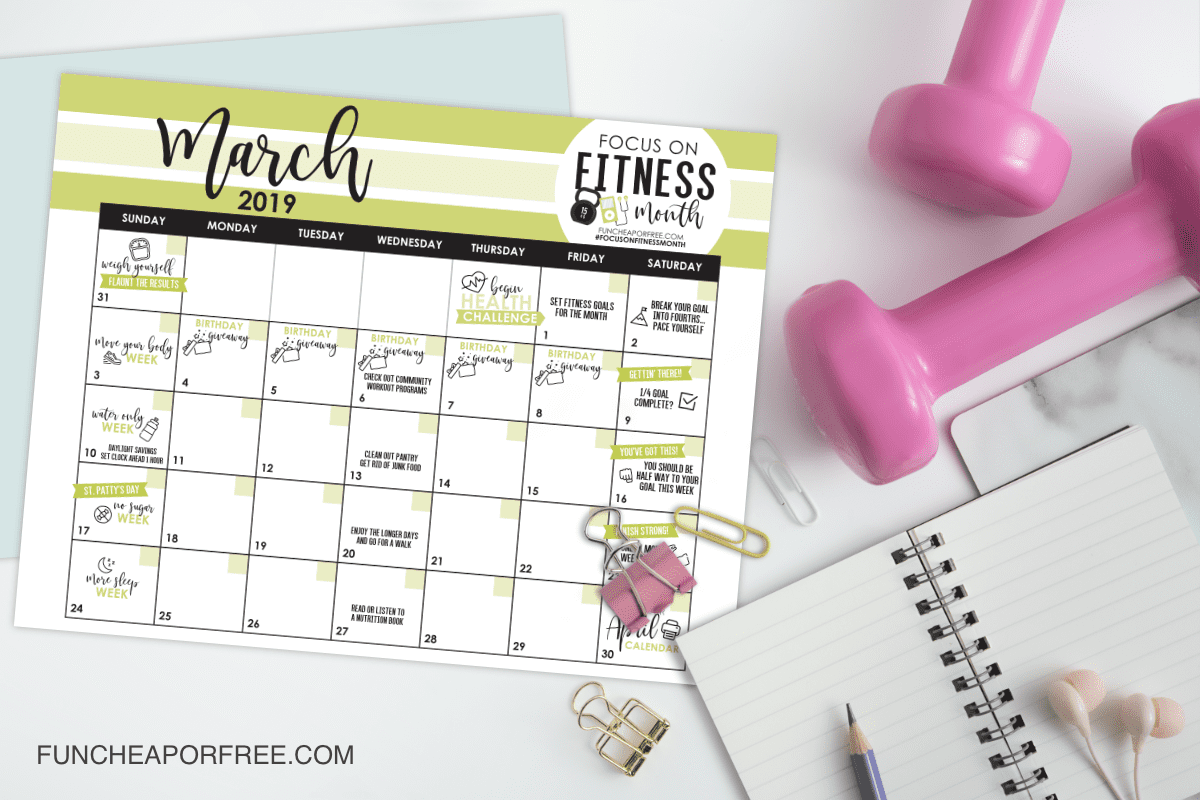 March: Focus on Fitness Month – FREE printable calendar
