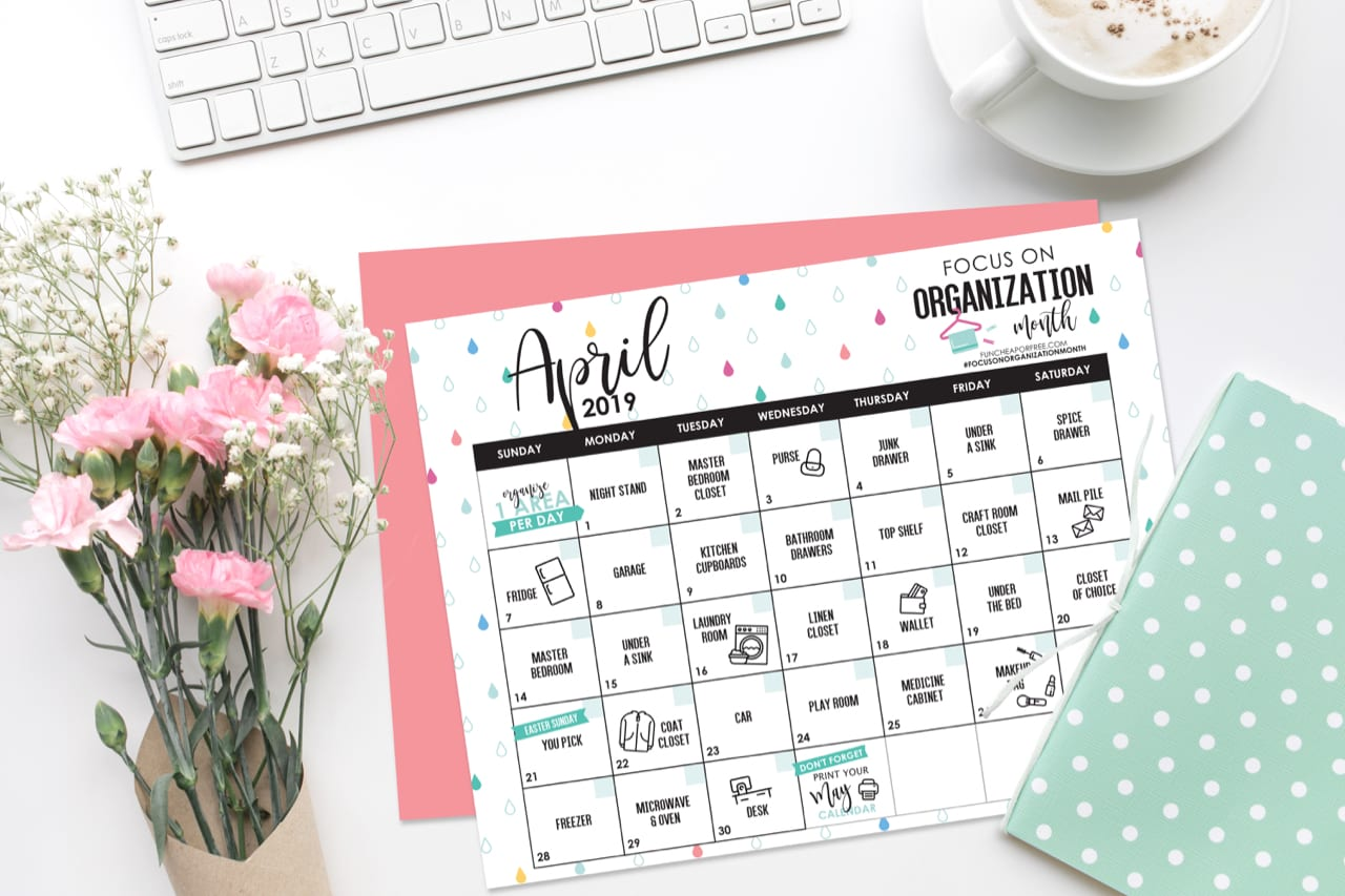 April Organization Challenge Calendar from FunCheapOrFree.com
