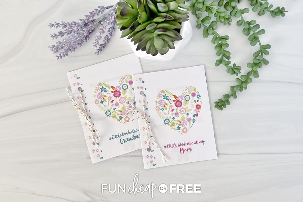 Mother's Day printable interview book on a counter, from Fun Cheap or Free