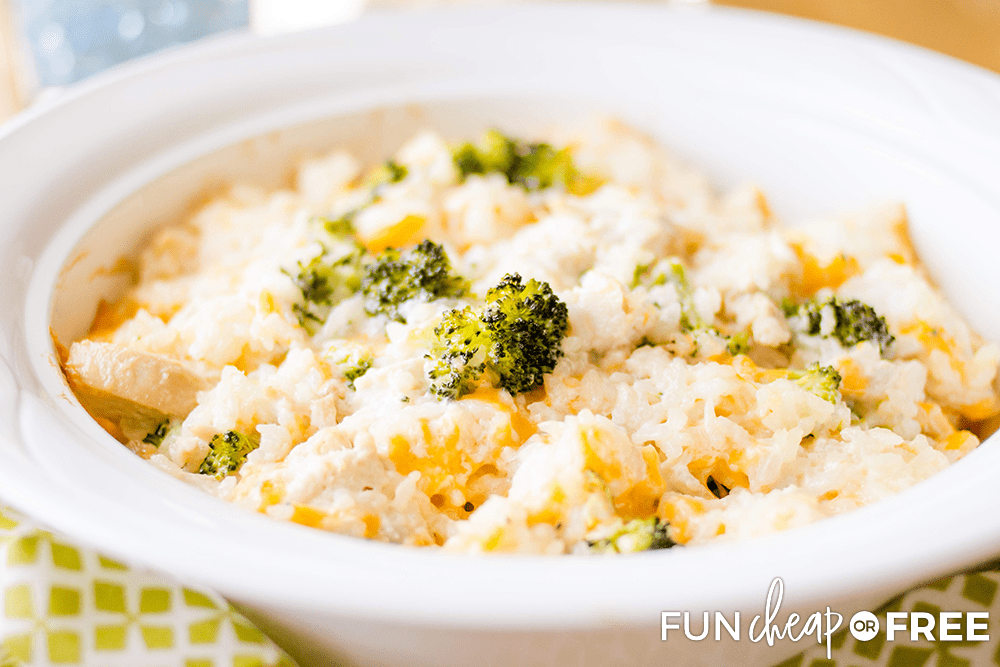 This chicken broccoli rice casserole recipe is an easy one dish meal from Fun Cheap or Free.