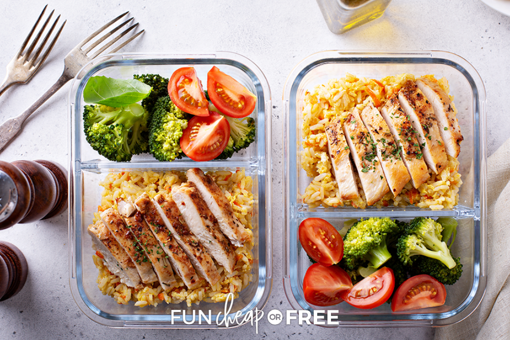 prepped lunch in divided glass dish, from Fun Cheap or Free