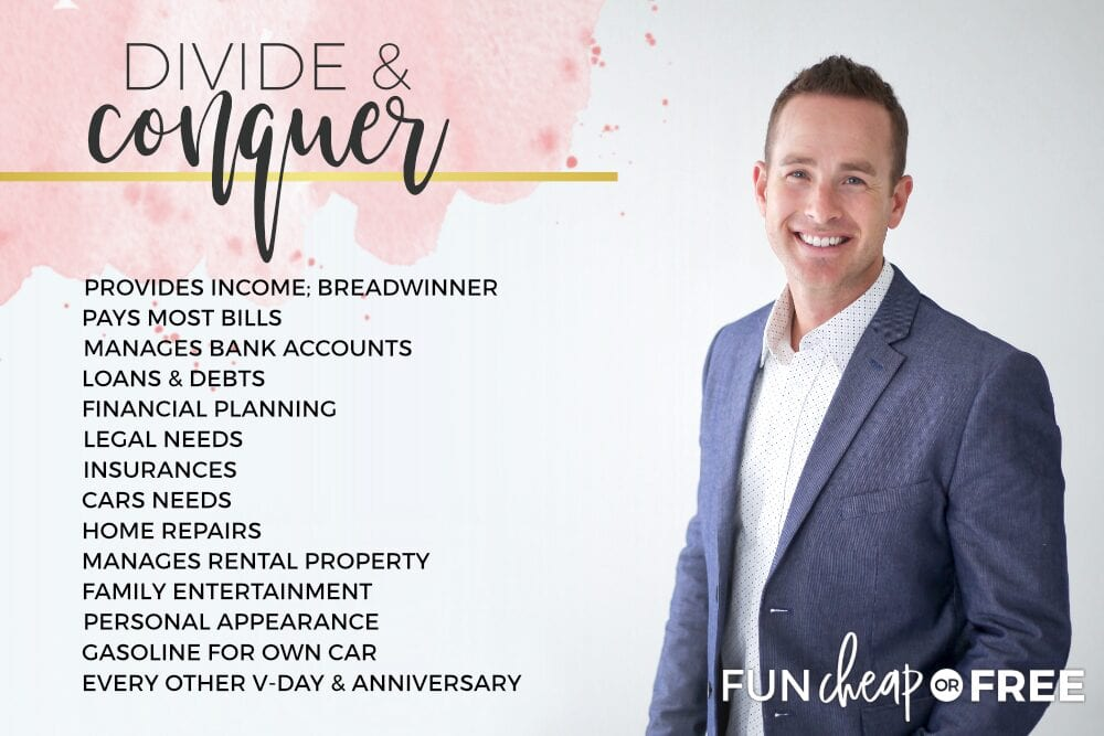Dividing financial responsibilities in a relationship - Ideas from Fun Cheap or Free