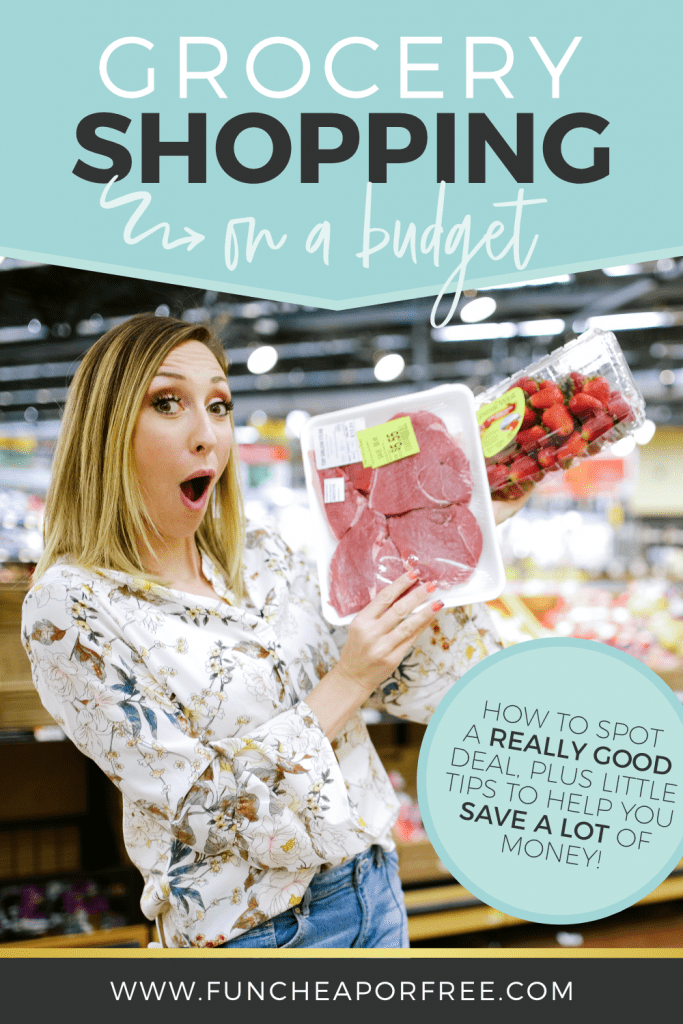 "Image with text that reads ""grocery shopping on a budget"" from Fun Cheap or Free"