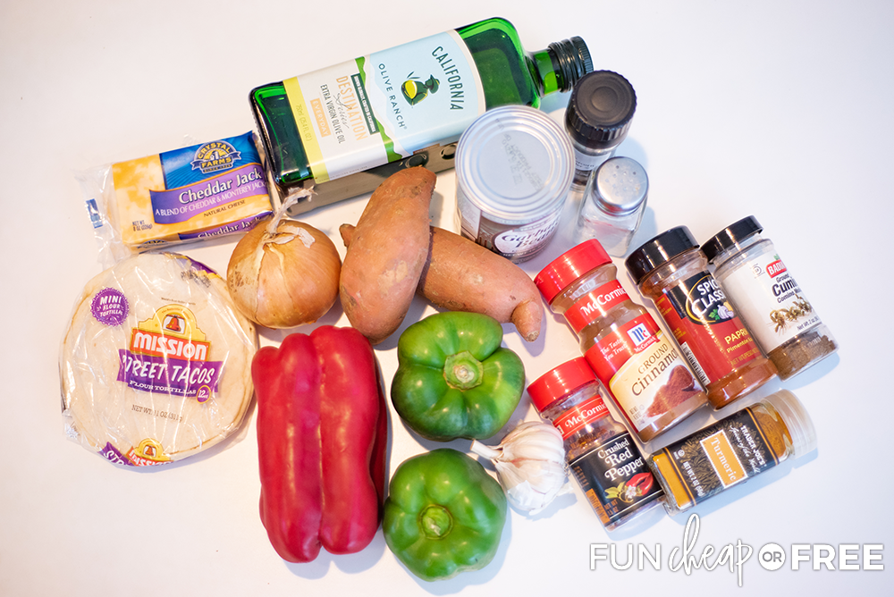 Ingredients for Black Bean Quesadillas from Fun Cheap or Free