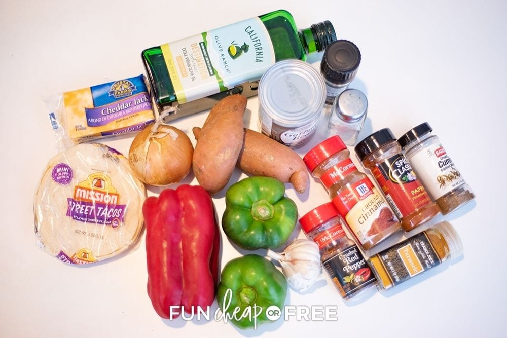 ingredients for quesadillas, from Fun Cheap or Free