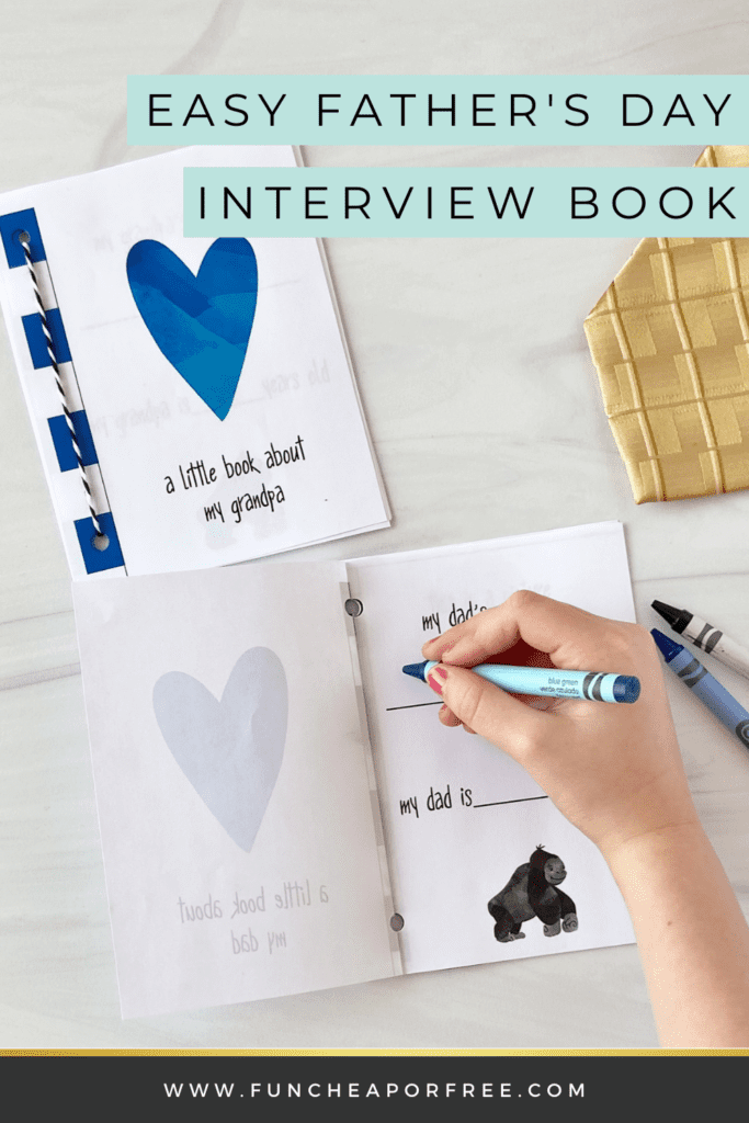 Kid writing in Father's Day printable interview book, from Fun Cheap or Free