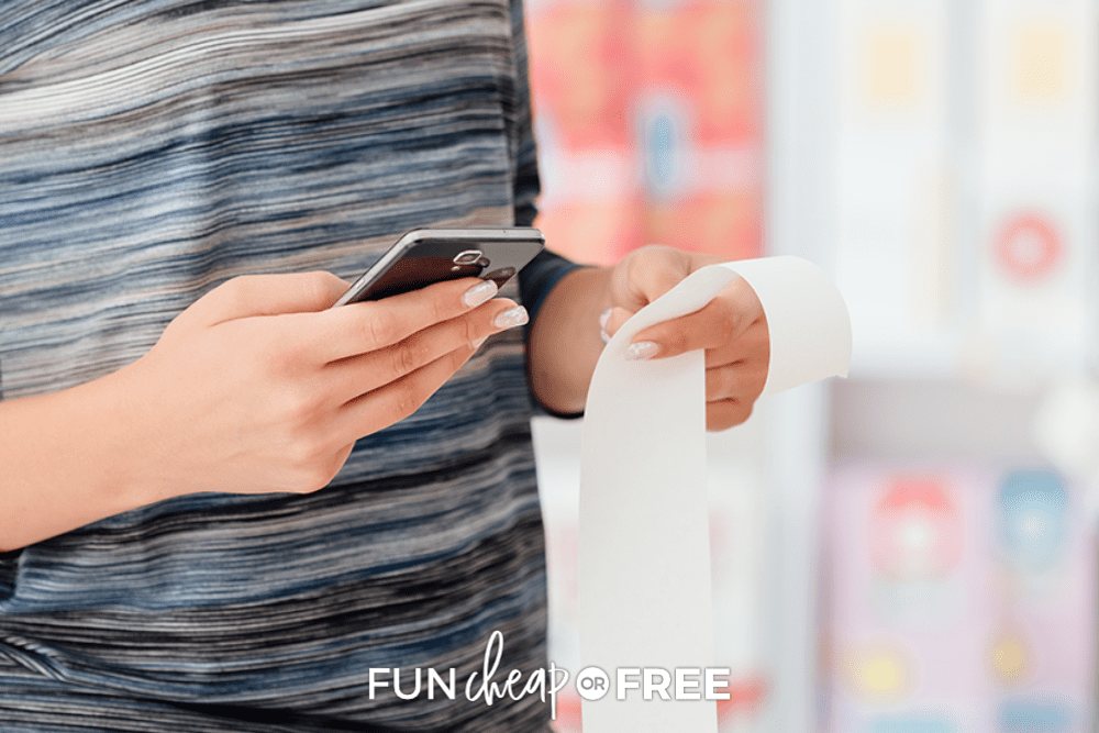 woman scanning a receipt into a money saving app, from Fun Cheap or Free