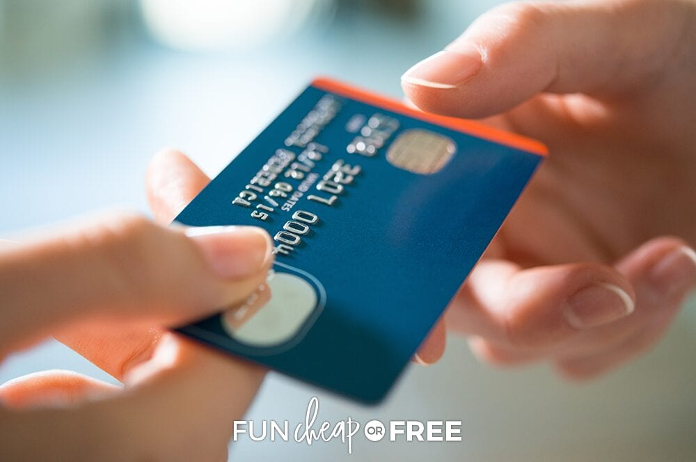 paying with credit card, from Fun Cheap or Free