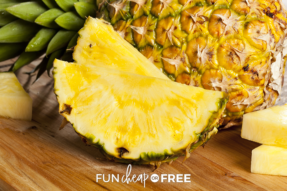 sliced pineapple on cutting board, from Fun Cheap or Free