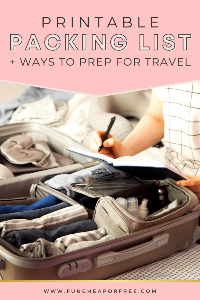 """Image with text that reads """"printable packing list"""" from Fun Cheap or Free"""