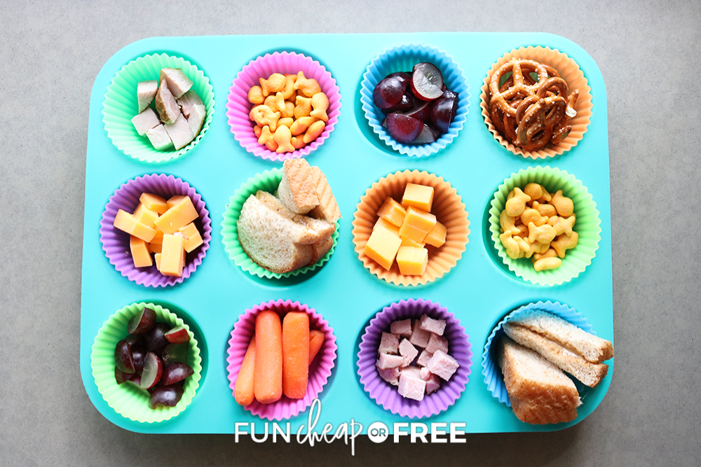 after school snacks in a muffin tin, from Fun Cheap or Free
