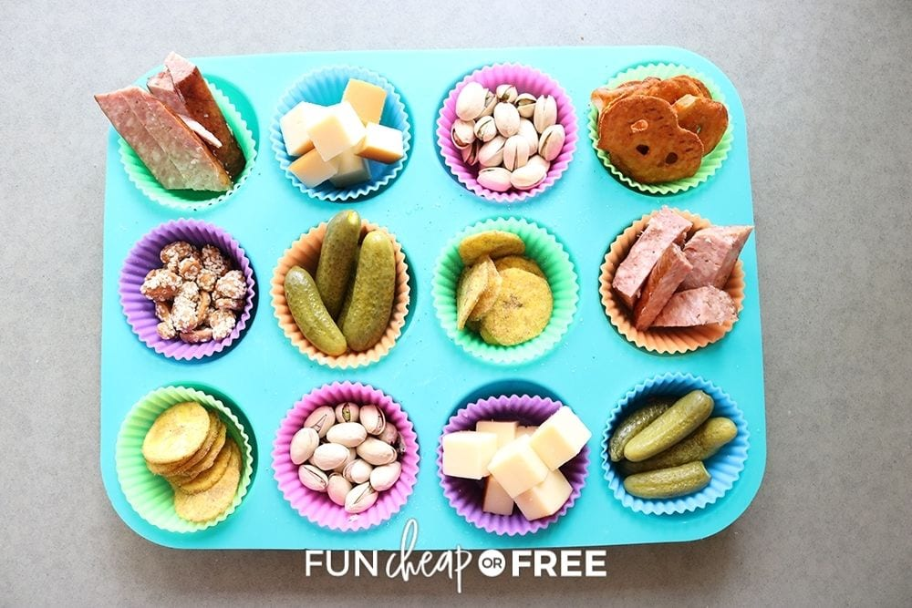 meat and cheese muffin tin snack tray, from Fun Cheap or Free