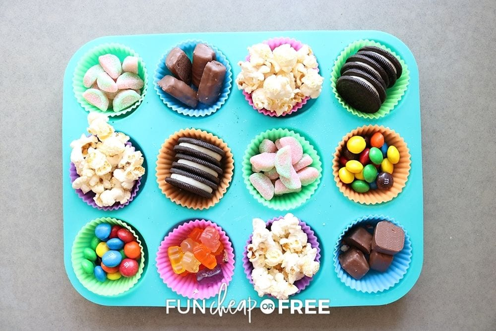 candy and popcorn in muffin tin, from Fun Cheap or Free