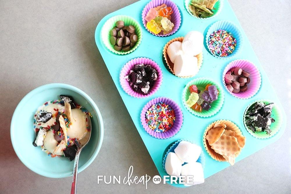 ice cream sundae bar in muffin tin, from Fun Cheap or Free