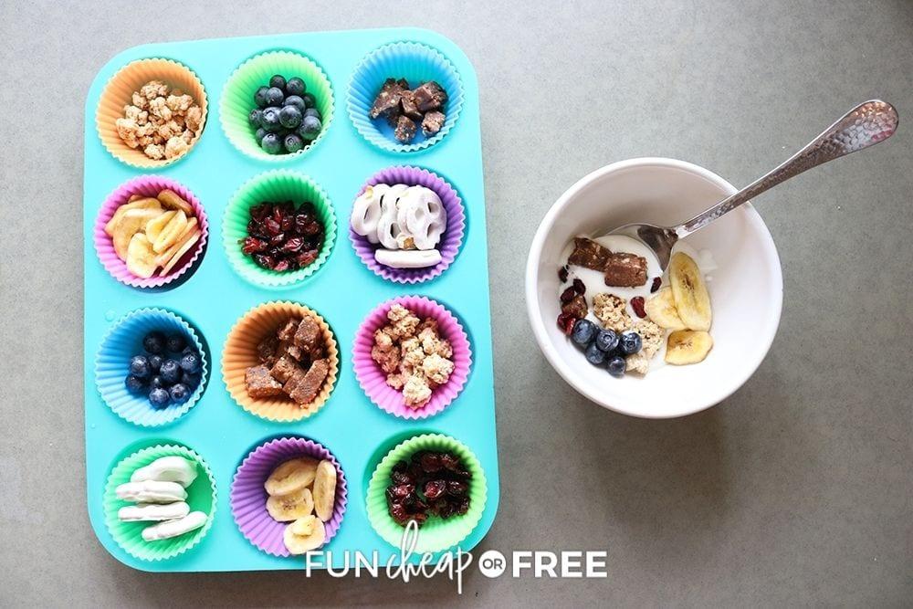 yogurt muffin tin snacks, from Fun Cheap or Free