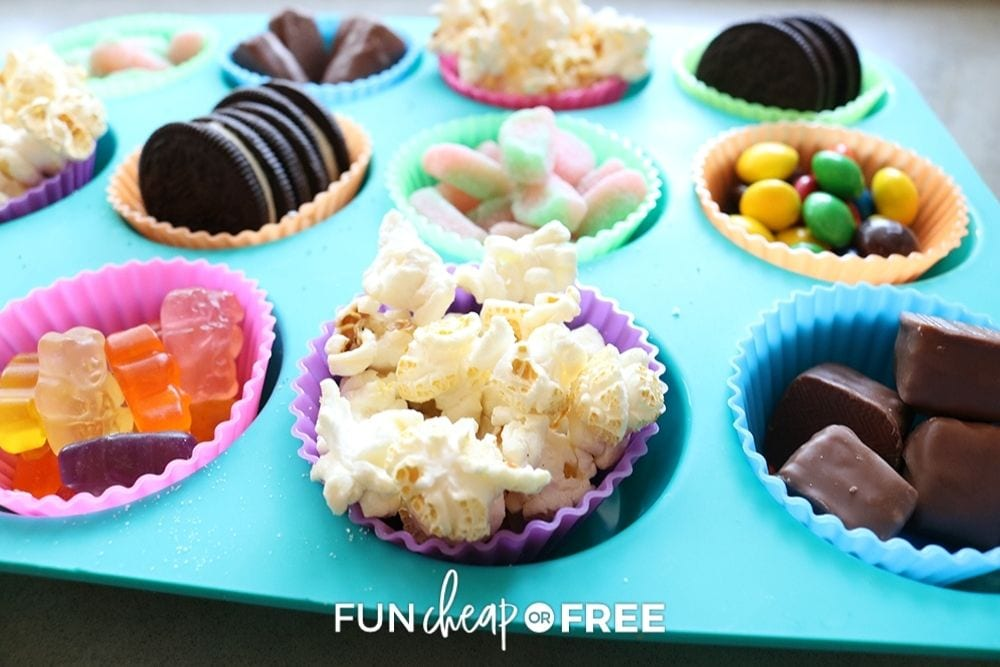 snack tray with popcorn and candy, from Fun Cheap or Free