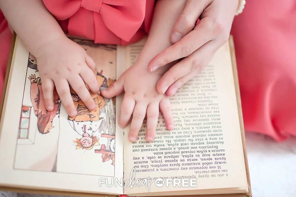 mom reading with daughter, from Fun Cheap or Free