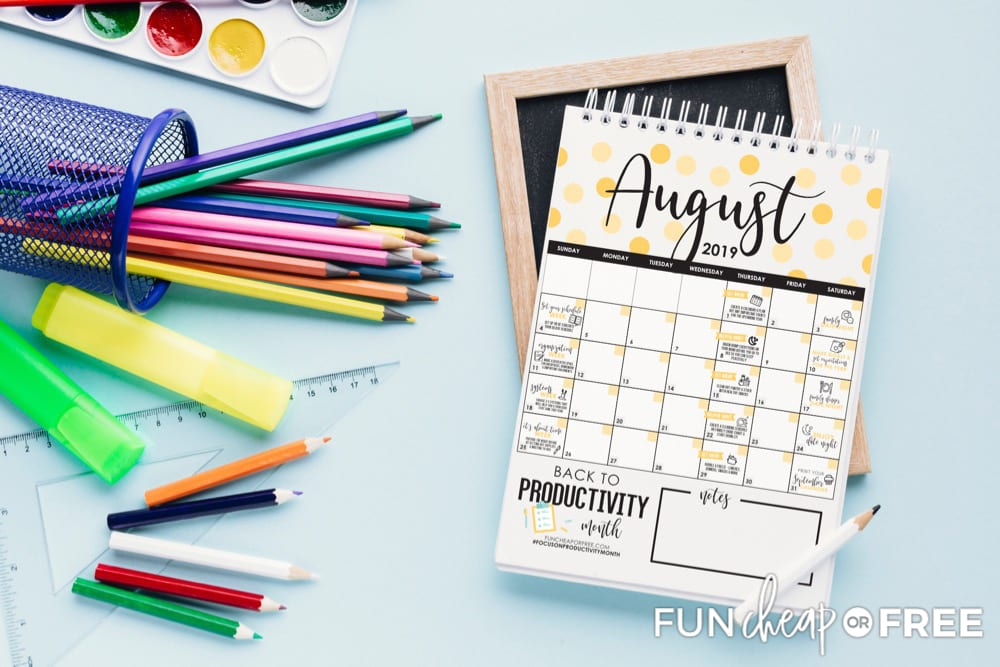 August Back to Productivity Challenge from Fun Cheap or Free