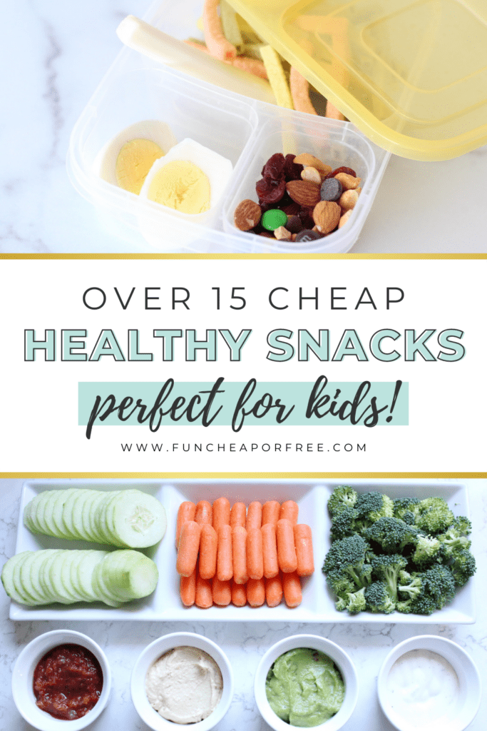 """Image with text that reads """"over 15 cheap, healthy snacks"""" from Fun Cheap or Free"""
