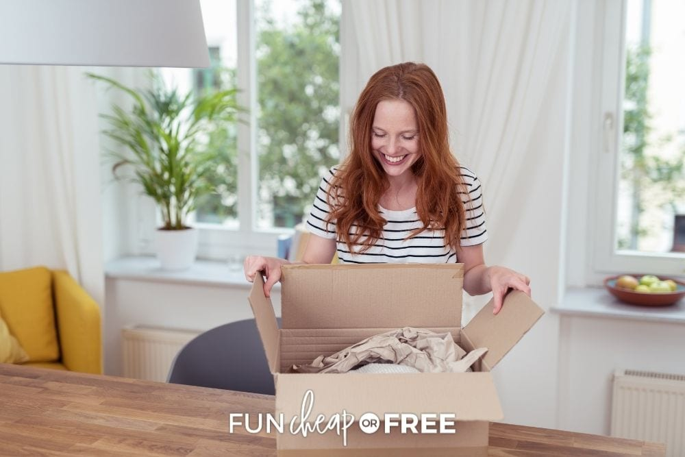woman opening box from online thrift shop, from Fun Cheap or Free