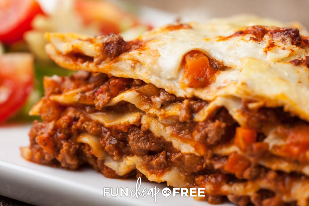 Costco lasagna on a plate, from Fun Cheap or Free