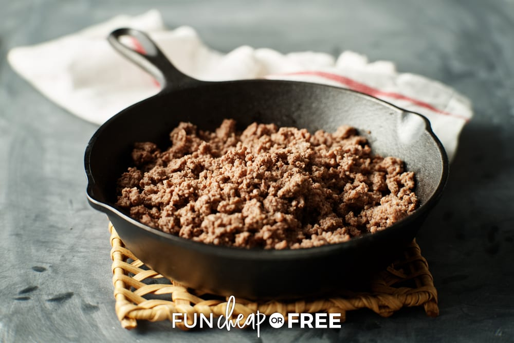 ground beef in a cast iron pan, from Fun Cheap or Free