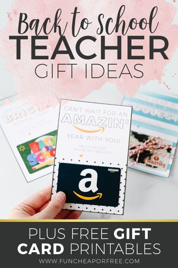 Back to school teacher gift ideas, plus 6 FREE gift card printables from Fun Cheap or Free
