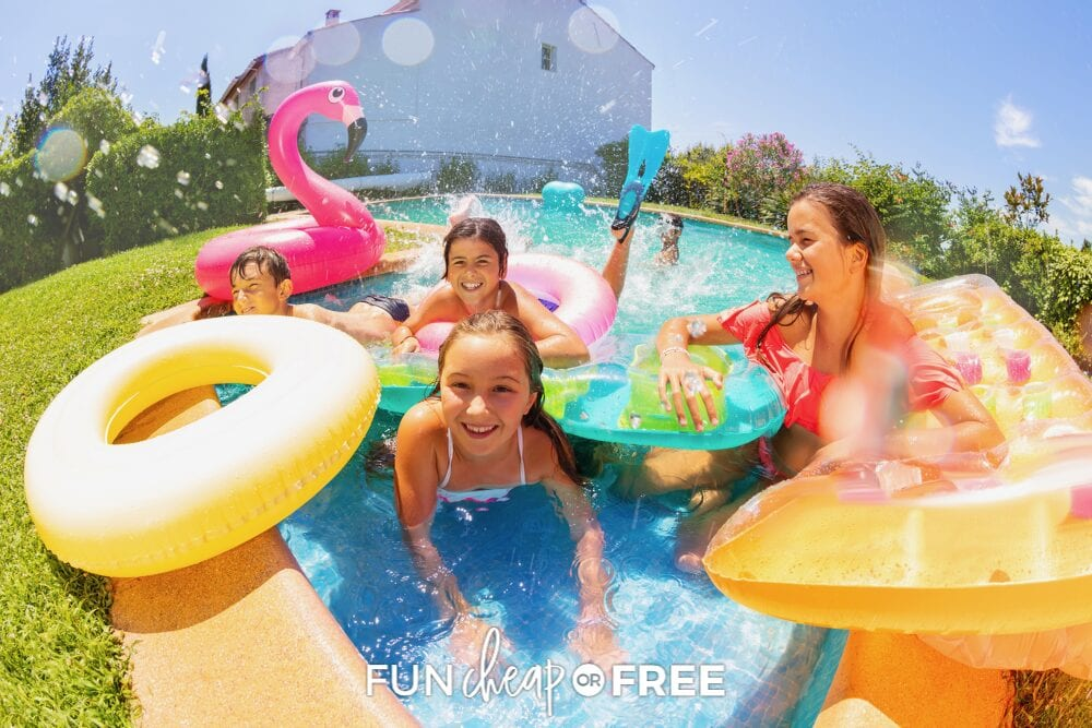 Girls with inflatables in a shallow pool, from Fun Cheap or Free birthday on a budget