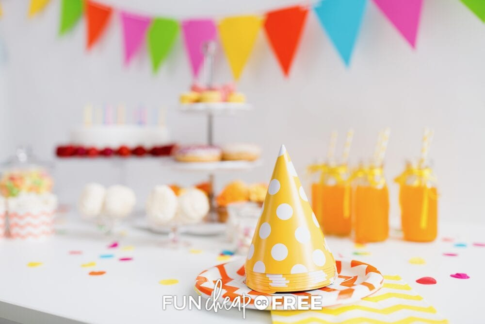 Closeup of birthday party decorations, snacks, and party hats - from Fun Cheap or Free