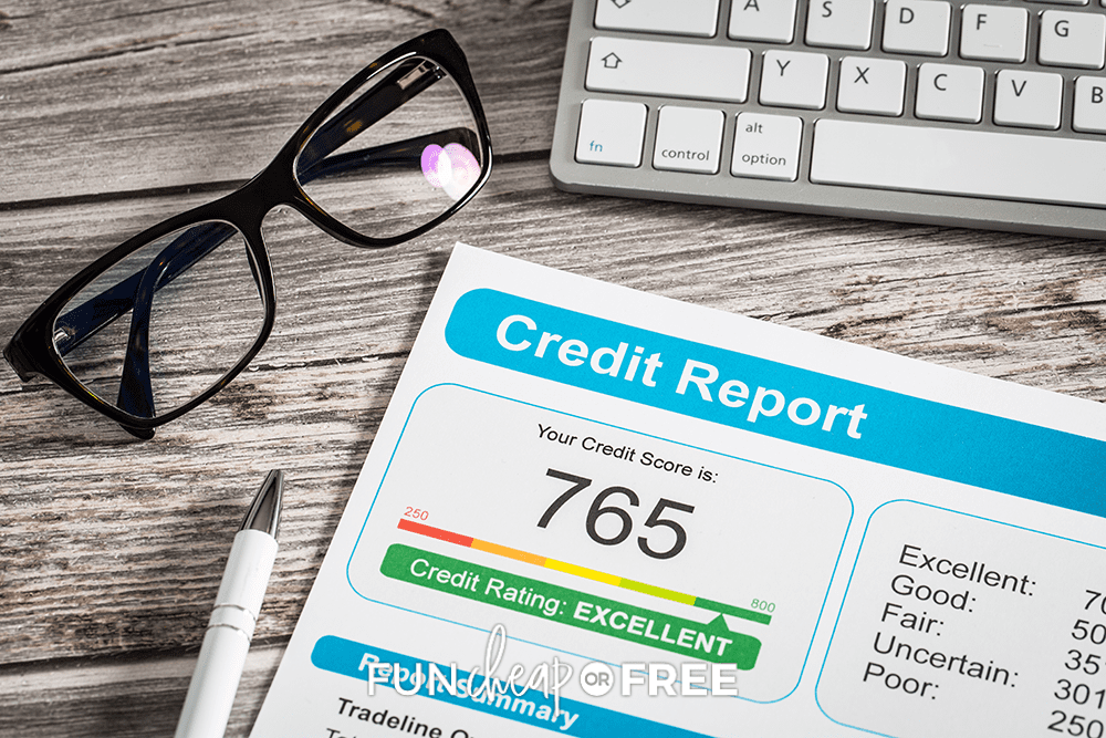 credit score printout, from Fun Cheap or Free