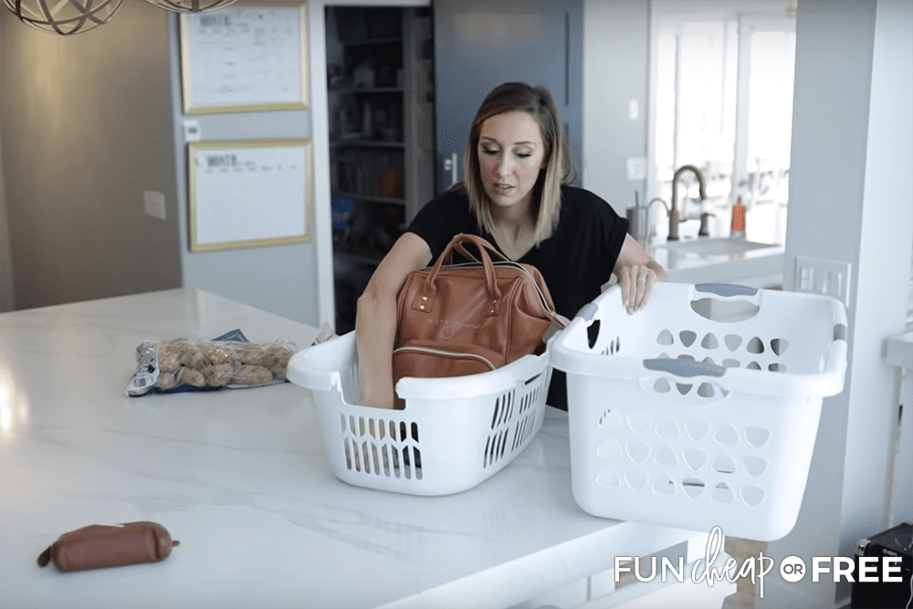 Speed Cleaning Using Laundry Baskets from Fun Cheap or Free
