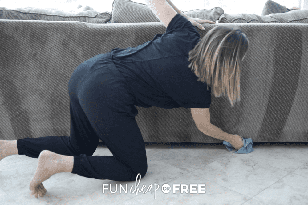speed cleaning vacuum lines on back of couch, from Fun Cheap or Free