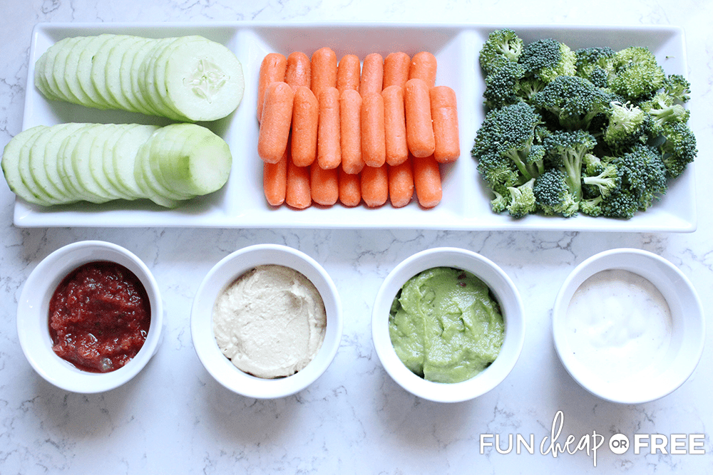 Veggie tray after school snack ideas from Fun Cheap or Free