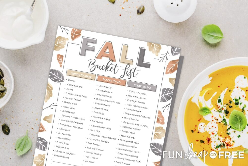 Fall bucket list printable on a counter with soup, from Fun Cheap or Free
