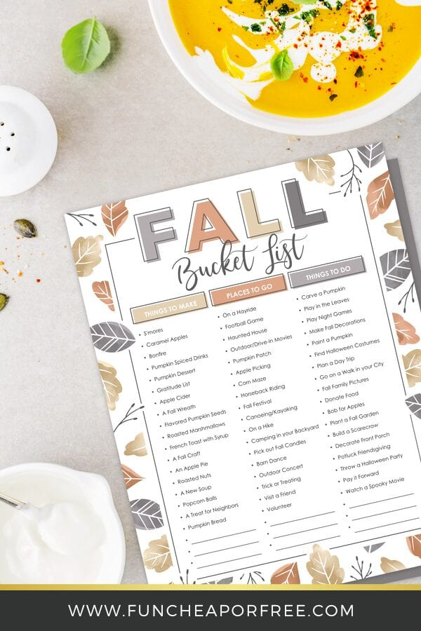 Fall bucket list printable on countertop with soup from Fun Cheap or Free