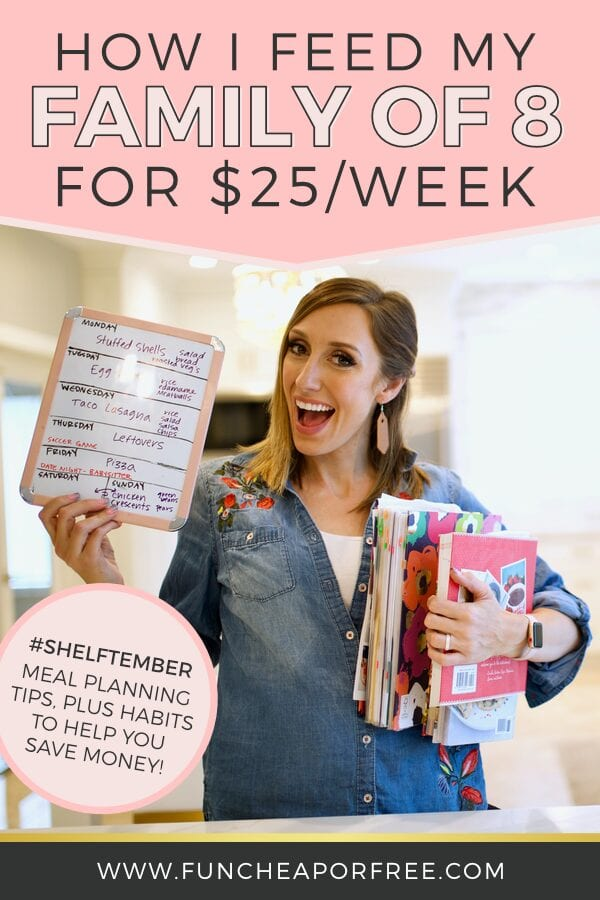 Jordan holding a meal planning dry erase board and cookbooks, showing how easy eating on a budget is, from Fun Cheap or Free