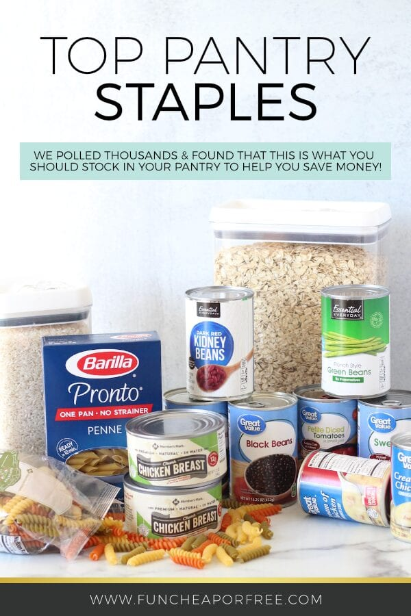 Pantry staples on a counter, including pasta, canned goods, and oatmeal, from Fun Cheap or Free