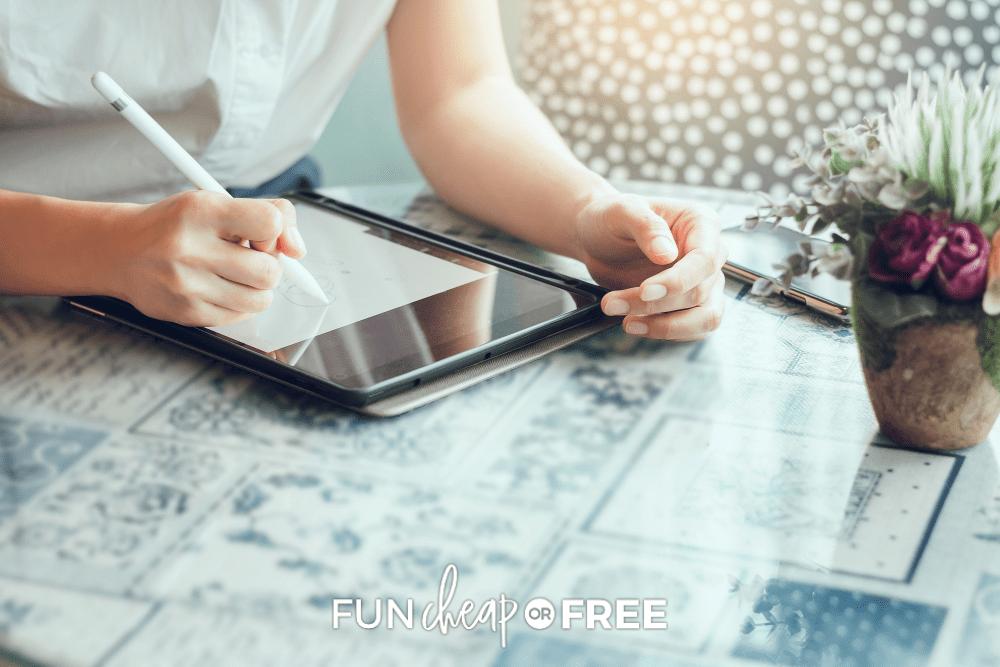 woman working on an ipad, from Fun Cheap or Free