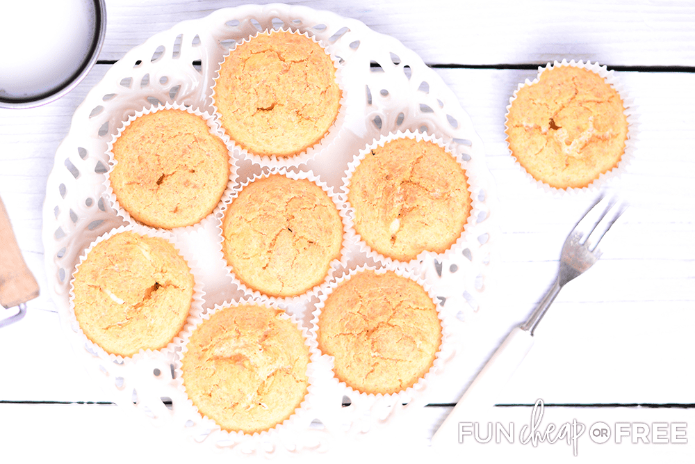 Cornbread muffins on a plate, from Fun Cheap or Free