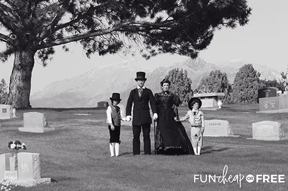 Blow up a Victorian family photo to use as Halloween decoration - Tips from Fun Cheap or Free