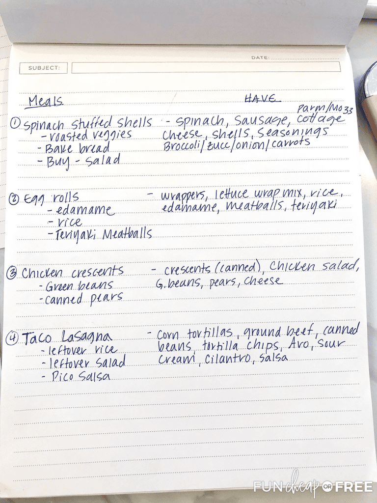 Plan your meals around what you have - Tips from Fun Cheap or Free
